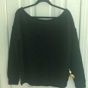 Black Soft Knit One Shoulder Sweater